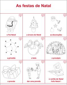 Vocabulaire portugais de Noël - imagier gratuit
