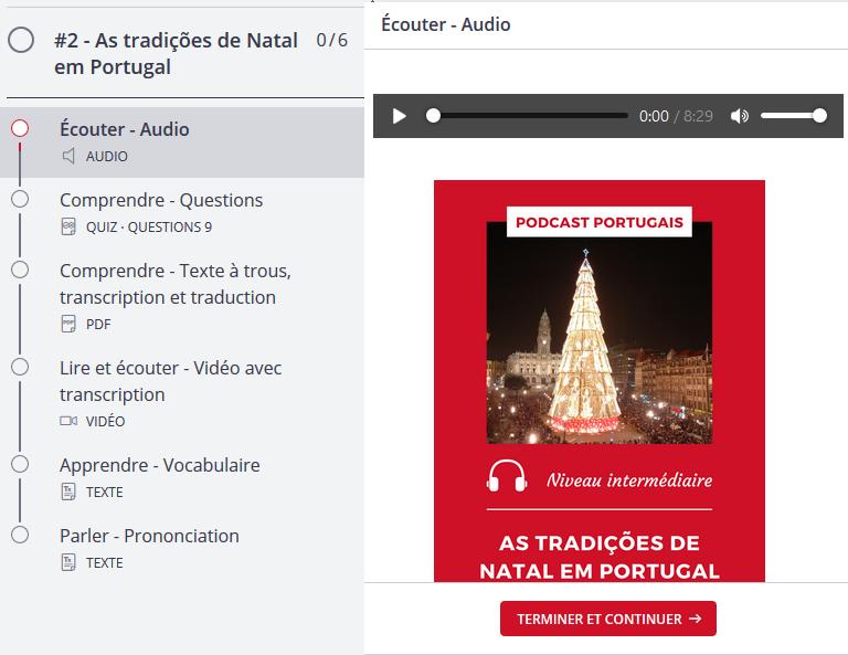 Gratuit - Exercices, transcription et traduction du podcast portugais - les traditions de Noël au Portugal