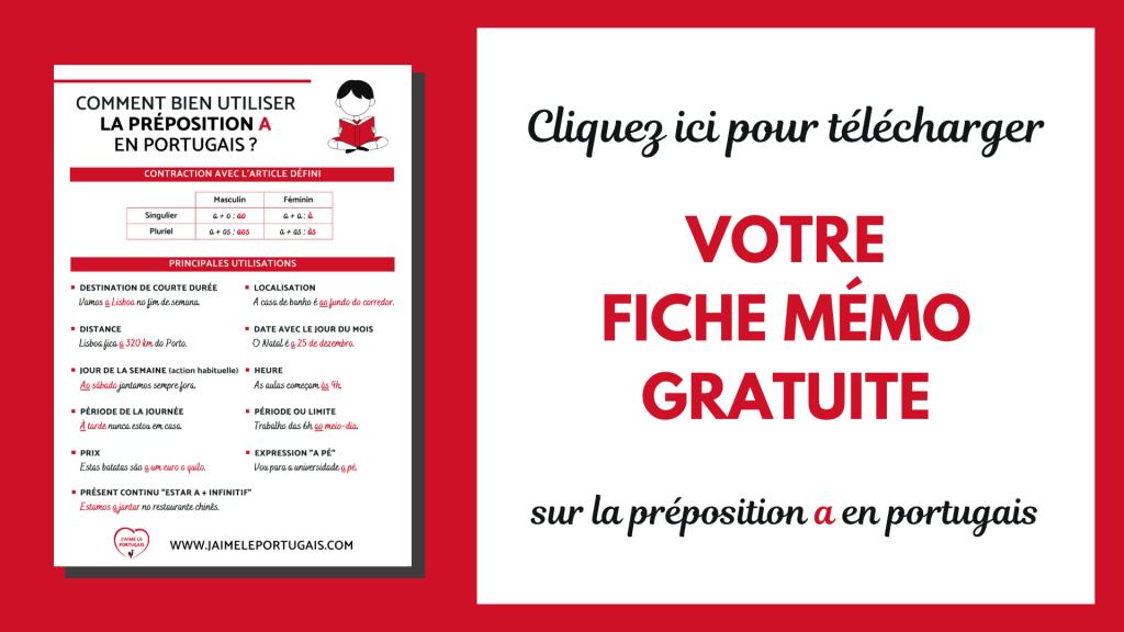 Téléchargez gratuitement votre fiche de révision pdf sur la préposition a en portugais