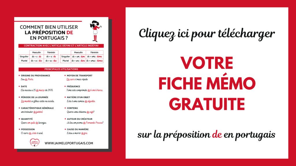 Téléchargez gratuitement votre fiche de révision pdf sur la préposition de en portugais