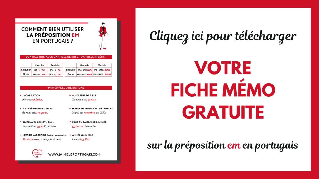 Téléchargez gratuitement votre fiche de révision pdf sur la préposition em en portugais
