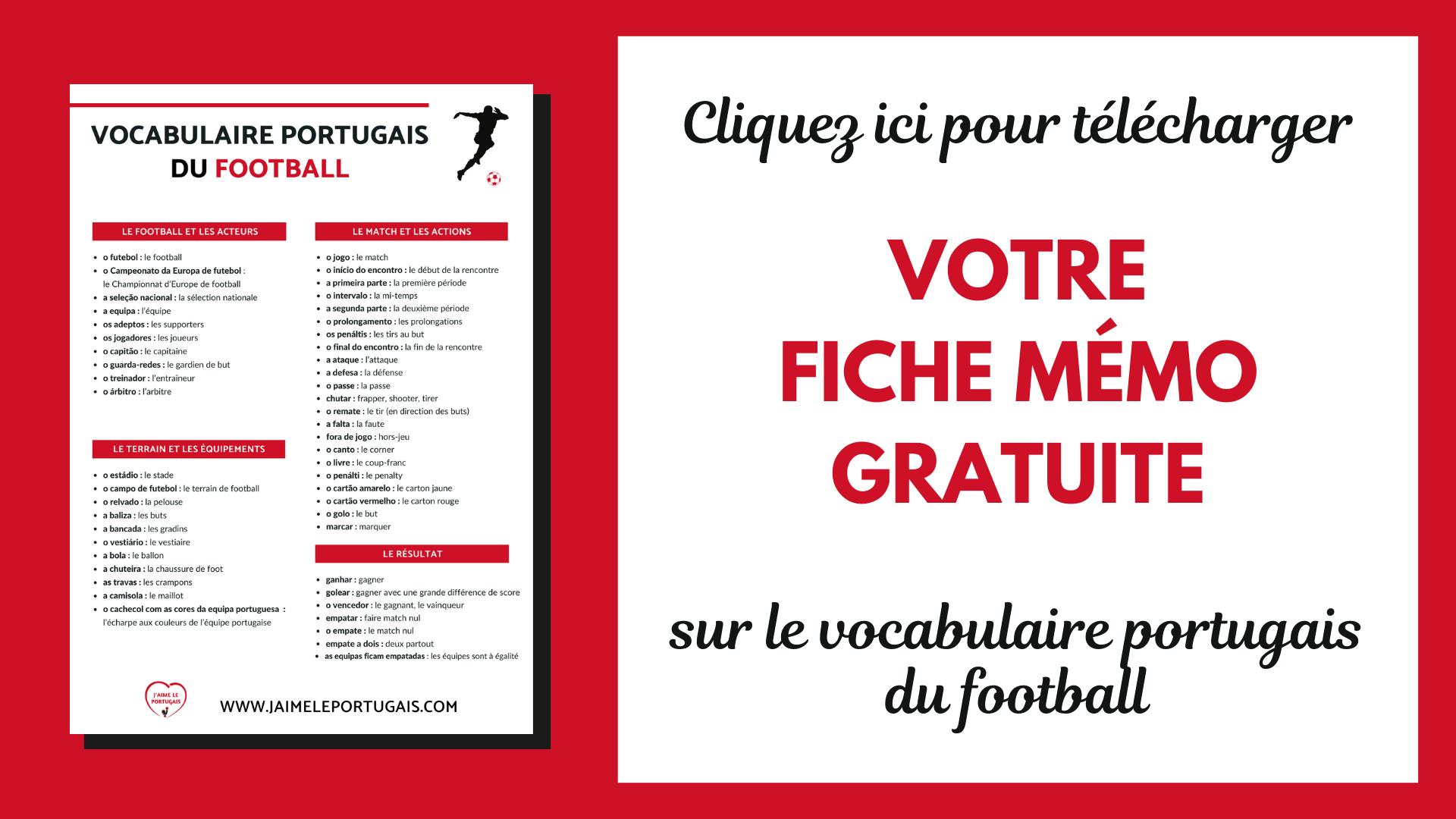 telechargez la fiche pdf gratuite pour réviser le vocabulaire portugais sur le footballfootball
