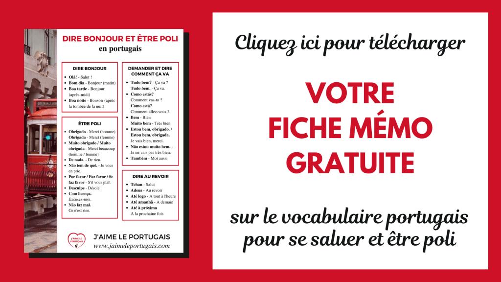Fiche de révision pdf gratuite de portugais - vocabulaire - dire bonjour, demander et dire comment ça va, dire au revoir et être poli en portugais
